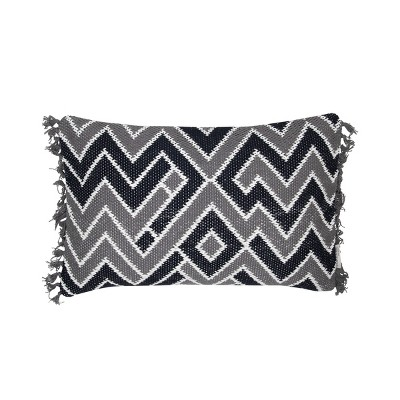 Gray and Black Patterned Hand Woven 14 x 22 inch Decorative Cotton Throw Pillow Cover With Insert and Hand Tied Fringe - Foreside Home & Garden