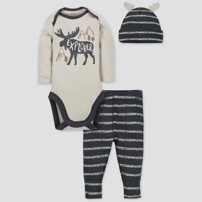 Gerber Baby Boys' 3pc Long Sleeve Bodysuit Cap and Pants Set - Gray/Tan 0/3M