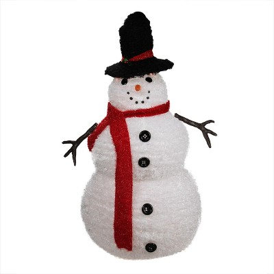 PENN 4\u0027 Lighted 3-D Chenille Winter Snowman with Top Hat Outdoor Christmas Decoration With