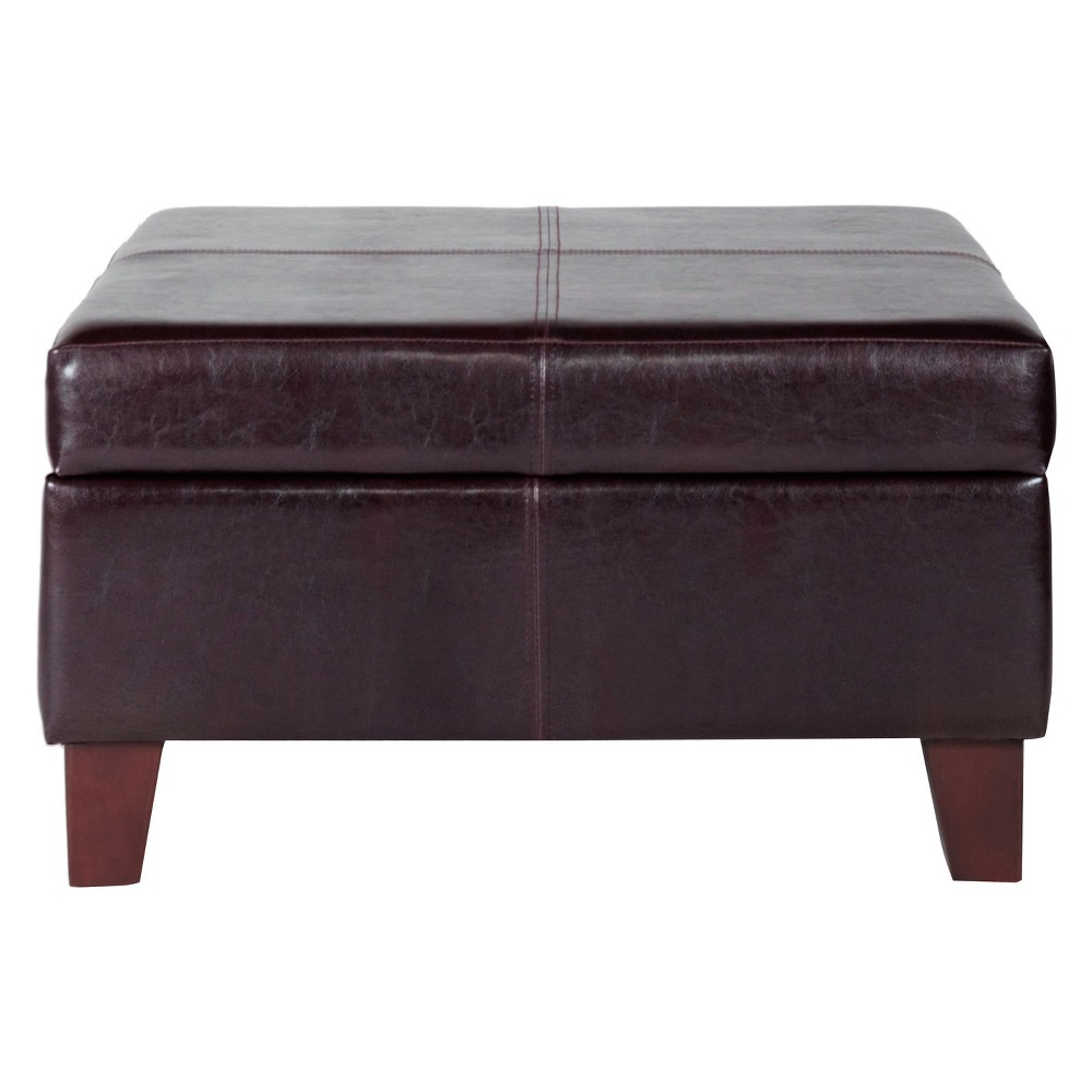 Large Faux Leather Storage Ottoman Brown - HomePop was $149.99 now $112.49 (25.0% off)
