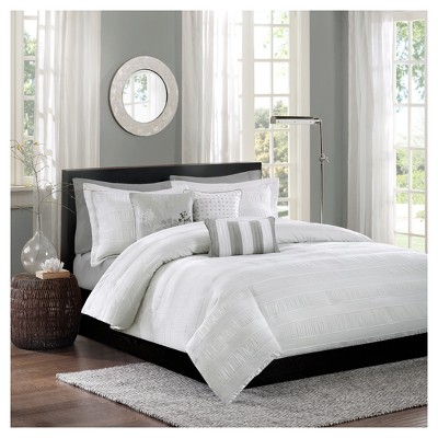 White Cullen Duvet Cover Set (King/California King)6pc