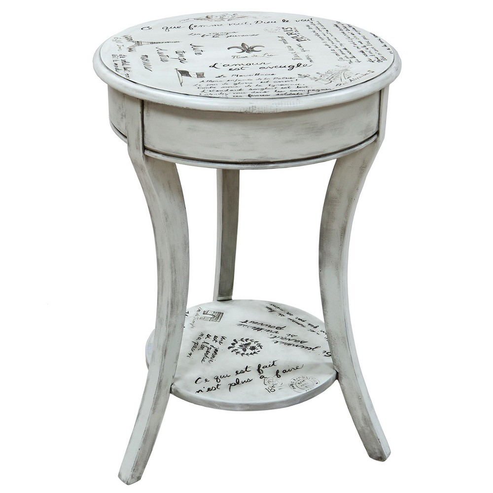 Image of Charil French Script Accent Table - Vintage Cream - Carolina Chair and Table, Beige