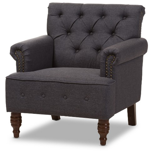 "Christa Modern and Contemporary Wood Finish with Fabric Upholstered Button - Tufted Armchair - Dark Gray, ""Walnut"" Brown - Baxton Studio - image 1 of 8"