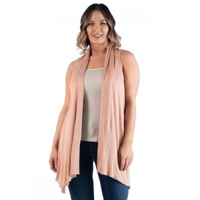 24seven Comfort Apparel Women's Plus Asymmetric Open Front Cardigan