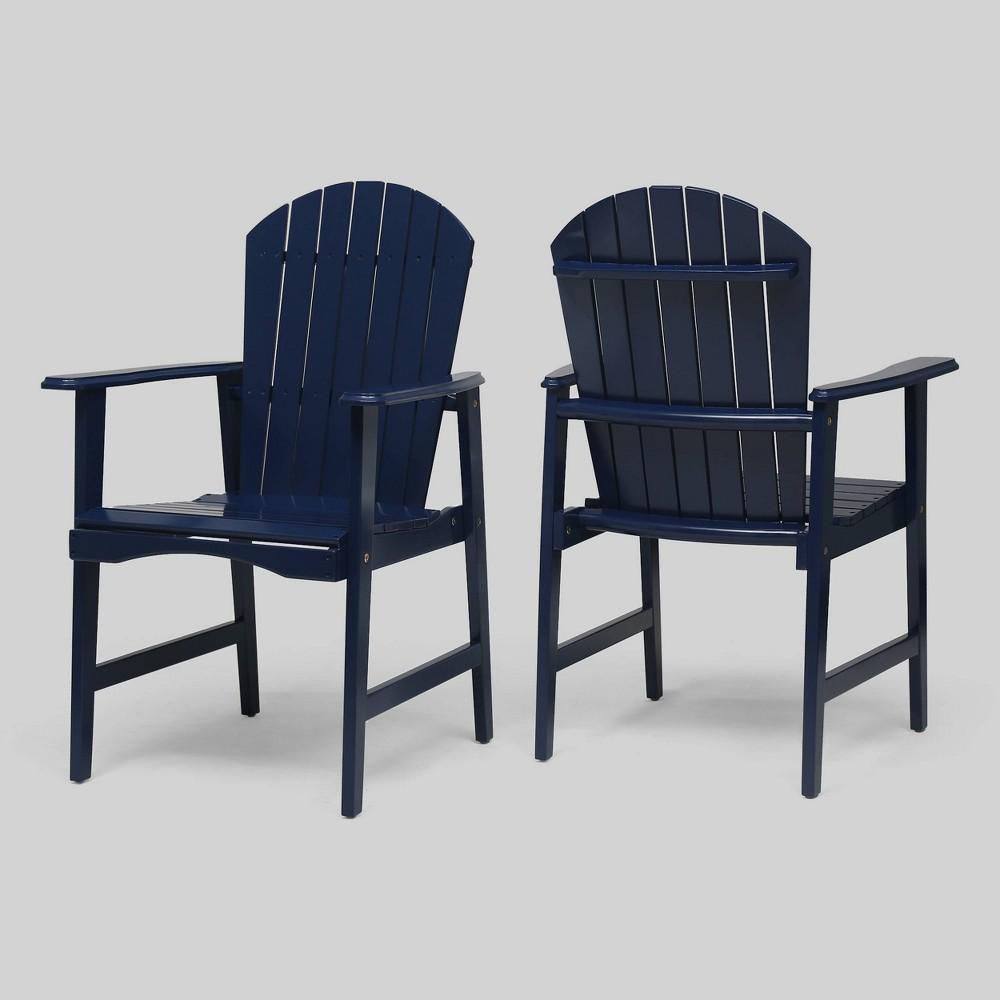 2pk Malibu Acacia Wood Adirondack Patio Dining Chairs Navy Blue Christopher Knight Home