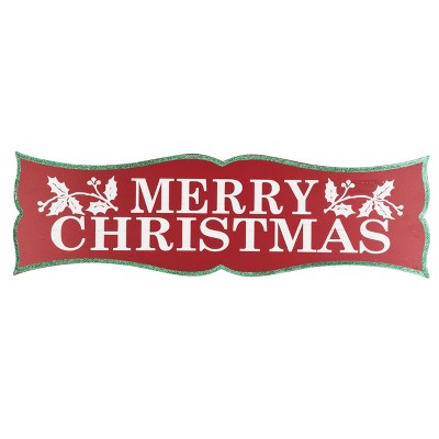 Transpac Wood 31 in. Red Christmas Merry Wall Decor