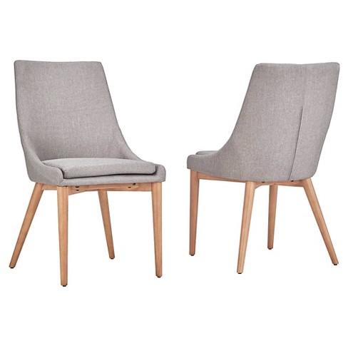Set Of 2 Sullivan Oak Mid Century Barrel Back Dining Chair Smoke Inspire Q Target