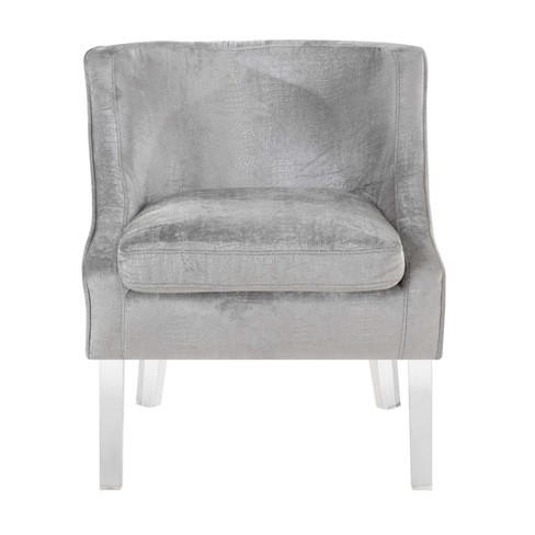 Terrific Tristan Alligator Fabric Accent Chair Light Silver Picket House Furnishings Andrewgaddart Wooden Chair Designs For Living Room Andrewgaddartcom