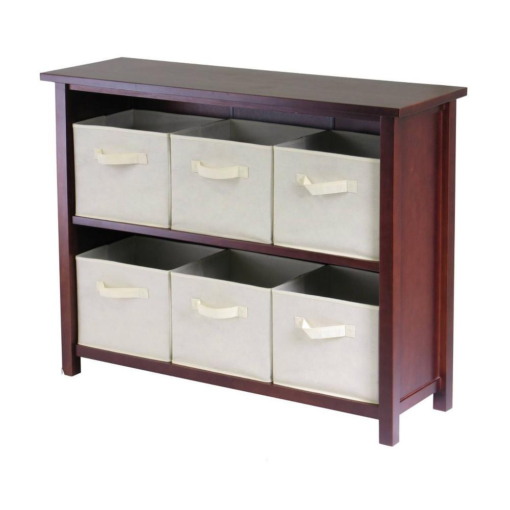 Verona 30 Storage Shelf With 6 Baskets Walnut Beige Winsome