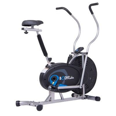 Body Flex Sports BRF650 Body Rider Upright Gel Seat Fan Bike with Looped Pedals