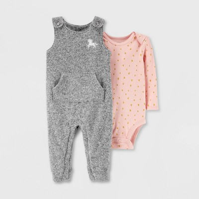 Baby Girls' 2pc Bodysuit, Sweater Overall Set - Just One You® made by carter's Gray/Pink 3M