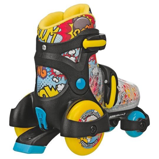 Roller Derby Fun Roll Boy's Jr Adjustable Roller Skate - Black/Yellow/Blue - Medium (11-2), Boy's, Blue Yellow Black image number null