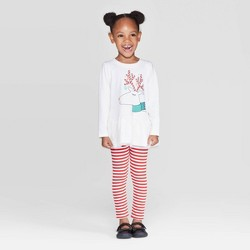 Toddler Girls' Reindeer Top and Stripe Leggings Set - Cat & Jack™ White/Red