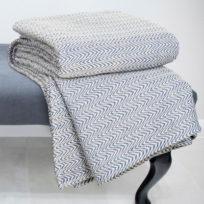 Chevron Cotton Blanket (Full/Queen)Blue - Yorkshire Home