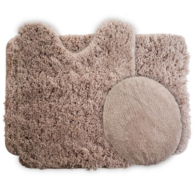 3pc Solid Super Plush Non-Slip Bath Mat Rug Set Taupe - Yorkshire Home