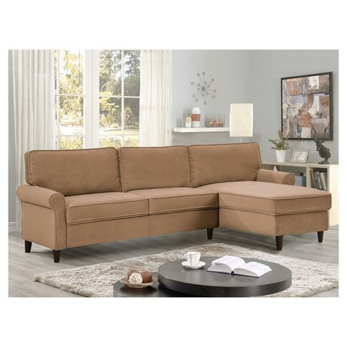 Marren Mid Century Microfiber Sectional Sofa In Dove Lifestyle Solutions