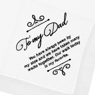 Juvale Embroidered Handkerchief Napkin Wedding Gift Keepsake for Dad, White, 6 Inches