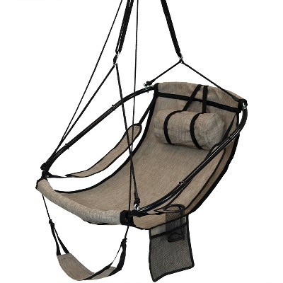 "40"" Outdoor Olefin Hammock Chairs with Drink Holder, Footrest and Pillow - Beige - Sunnydaze Decor"