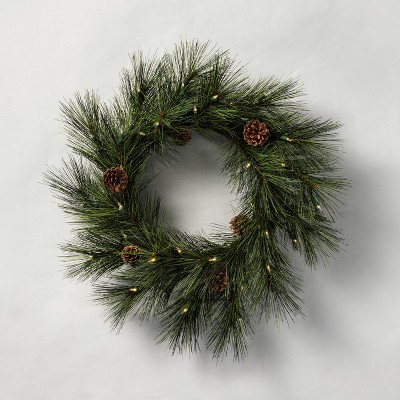 """24"""" Indoor/Outdoor Pre-Lit LED Faux Pine Wreath with Pinecones - Hearth & Hand™ with Magnolia"""