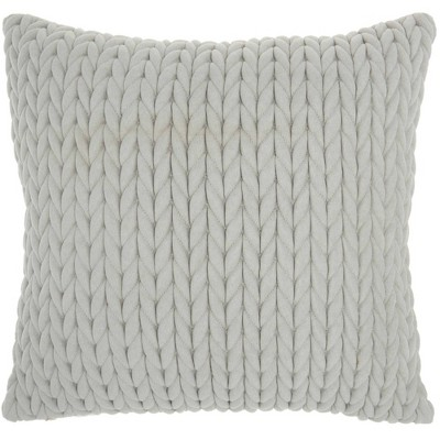 "18""x18"" Life Styles Quilted Chevron Throw Pillow Light Gray - Nourison"