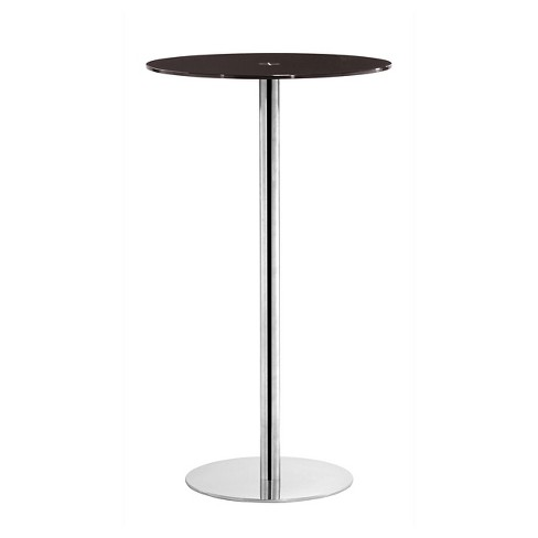 "Modern 41.5"" Painted Tempered Glass and Brushed Stainless Steel Round Pub Table - Espresso - ZM Home - image 1 of 1"
