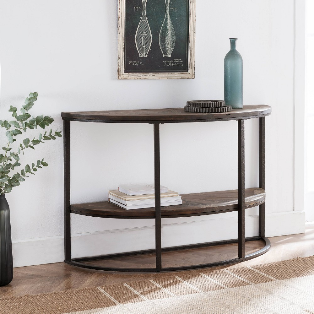 Image of Lymedon Half Moon Reclaimed Wood Console Table Natural/Black - Aiden Lane, Brown