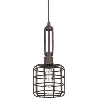 """Franklin Iron Works Rust Cage Mini Pendant Light 7"""" Wide Modern Industrial Fixture for Kitchen Island Dining Room"""