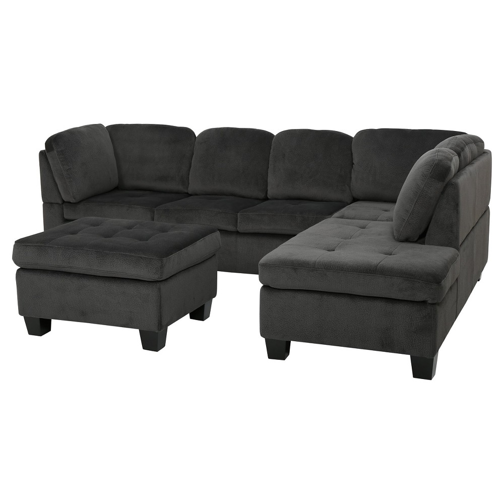 Canterbury 3-piece Fabric Sectional Sofa Set - Charcoal (Grey), Christopher Knight Home