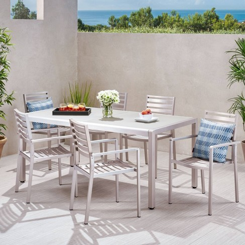 Cape Coral 7pc Aluminum & Tempered Glass Dining Set - Christopher Knight Home - image 1 of 4