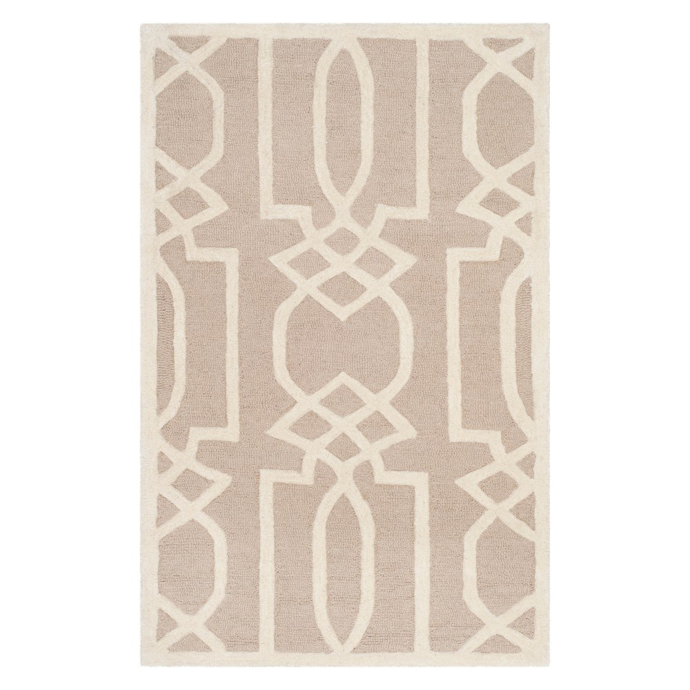 2'6X4' Geometric Accent Rug Sand/Ivory (Brown/Ivory) - Safavieh