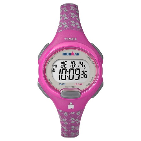 Women's Timex Ironman® Essential 10 Lap Digital Floral Watch - Pink TW5M07000JT - image 1 of 3