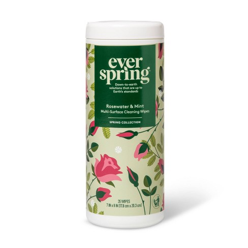 Multi-Surface Cleaning Wipes .3% - Rosewater & Mint - 35ct - Everspring™ - image 1 of 3