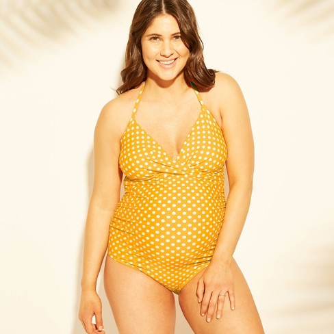 Maternity Polka Dot Halter Neck Wrap One Piece Swimsuit - Isabel Maternity by Ingrid & Isabel™ Yellow - image 1 of 2
