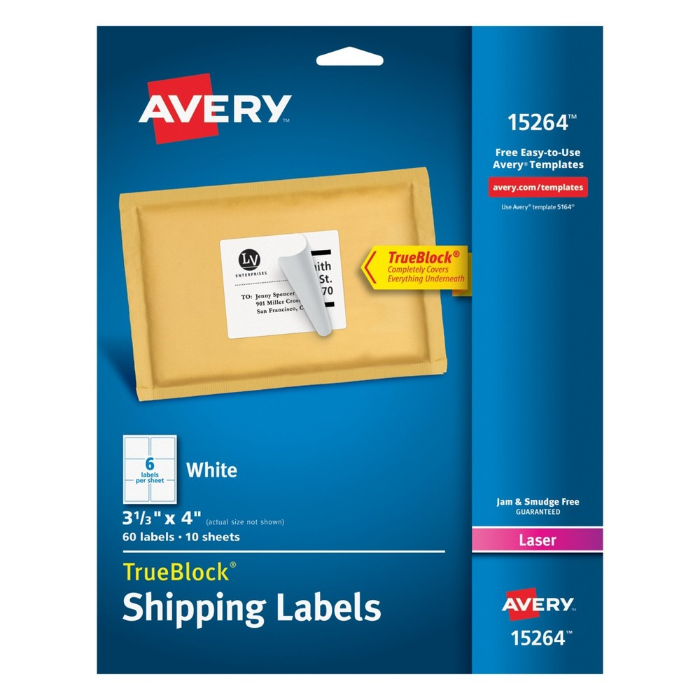 60ct Shipping Labels 3.3 x 4 White - Avery True Block