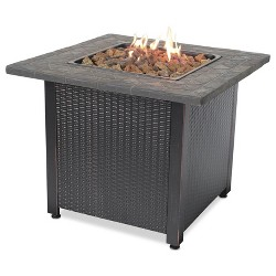"Endless Summer Decorative 30"" Outdoor Gas Fire Pit Table with Cover and Rocks"