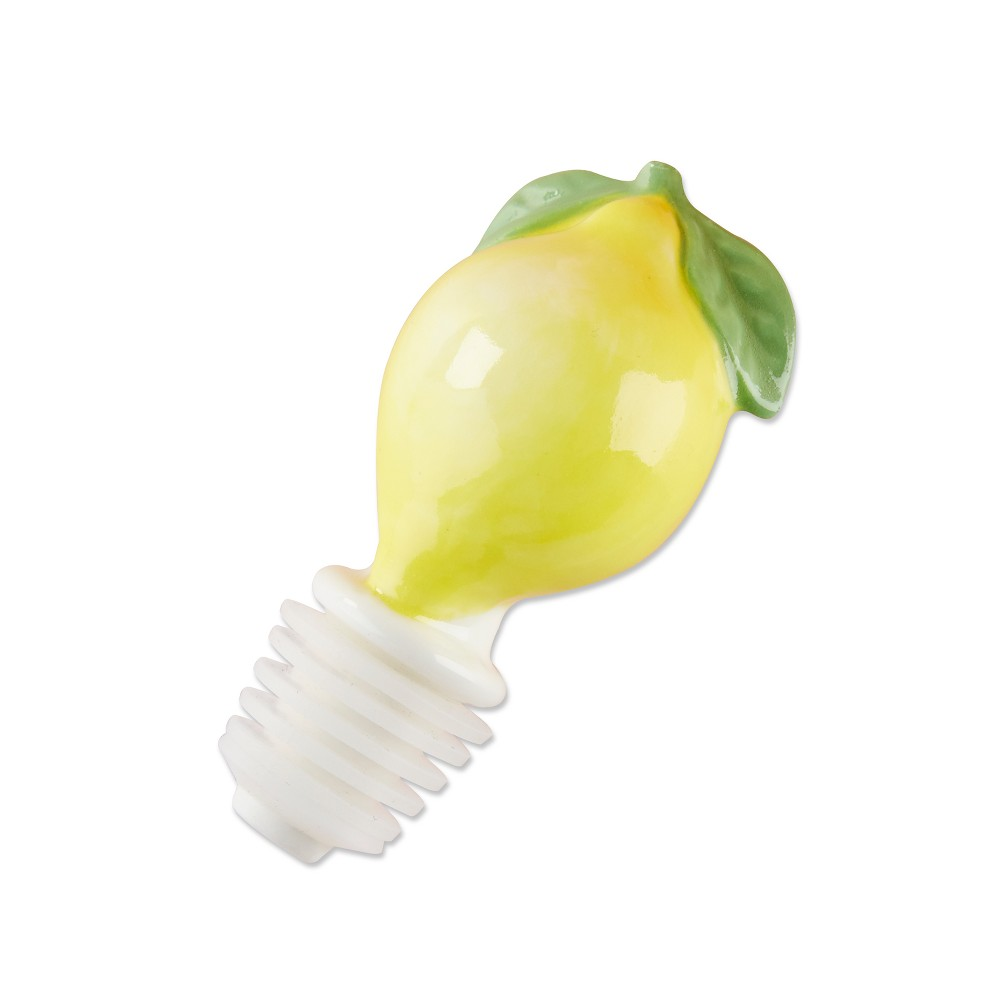 6ct Kate Aspen Ceramic Lemon Bottle Stopper