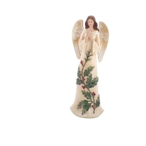 """Melrose 12"""" Green and White Glittered Praying Angel Christmas Tabletop Decor - image 1 of 1"""