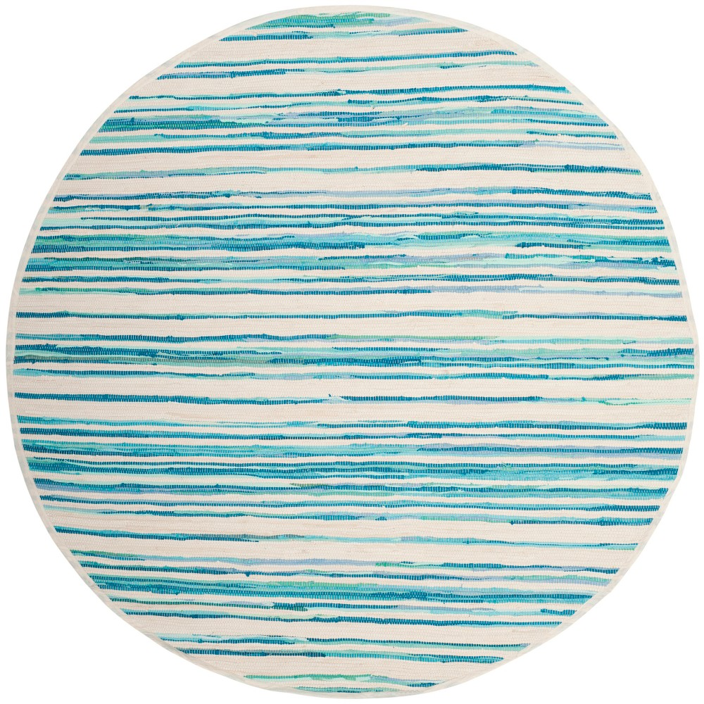 6' Stripe Woven Round Area Rug Ivory/Green - Safavieh