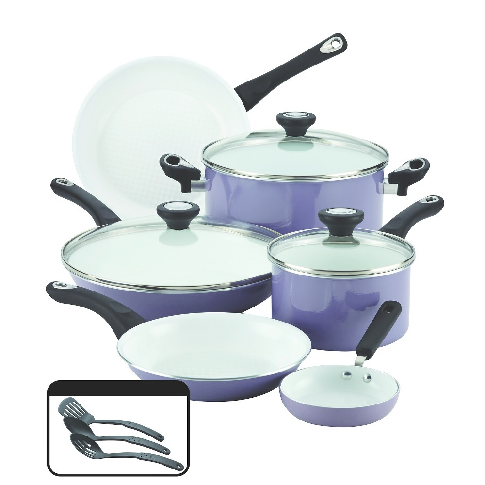 Farberware(r) Purecook(tm) Ceramic Nonstick Cookware Set - Lavender (Purple)( 12Pc)