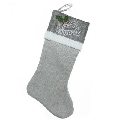 """Northlight 20"""" Gray and White Herringbone 'Merry Christmas' Stocking"""