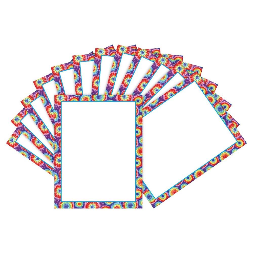 Barker Creek 2pk Printer Paper 100ct - Tie-Dye Border, Multicolor Rainbow