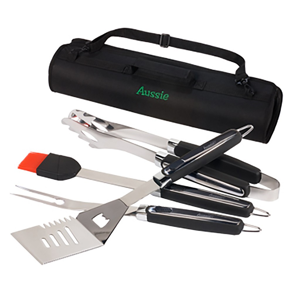 4pc Grill Tool Set - Aussie, Silver