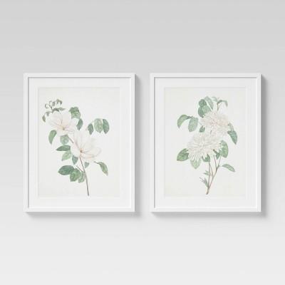 """(Set of 2) 24"""" x 30"""" Flowers Framed Wall Art White - Threshold™"""