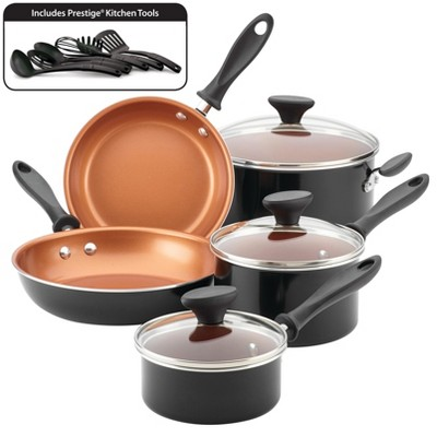 Farberware Reliance Pro 14pc Copper Ceramic Nonstick Cookware Set Black