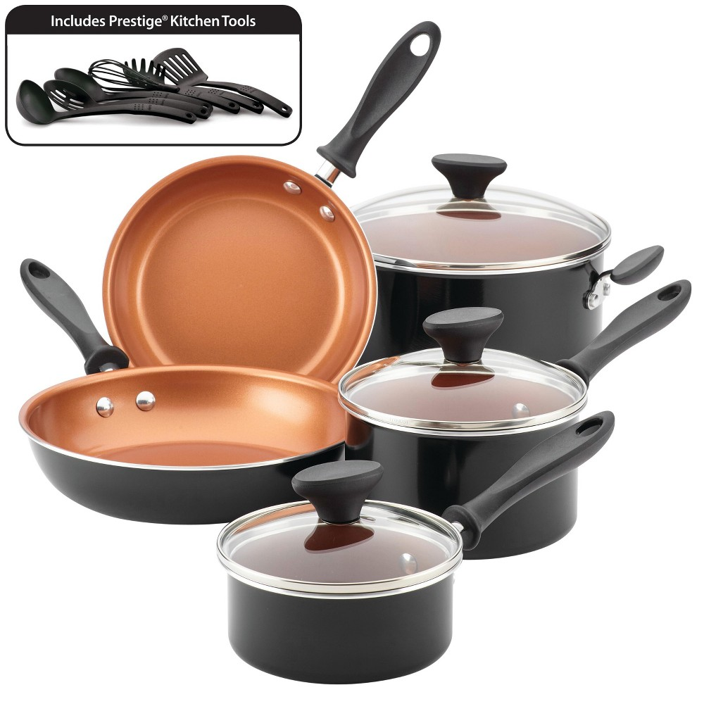 Image of Farberware Reliance Pro 14pc Copper Ceramic Nonstick Cookware Set Black