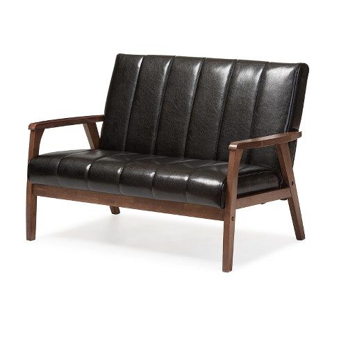 Nikko Mid - Century Modern Scandinavian Style Faux Leather Wooden 2 ...