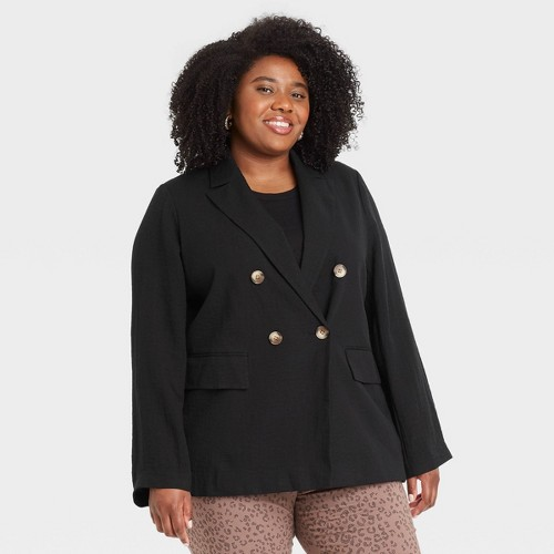 Women S Plus Size Double Breasted Blazer A New Day Black 2X