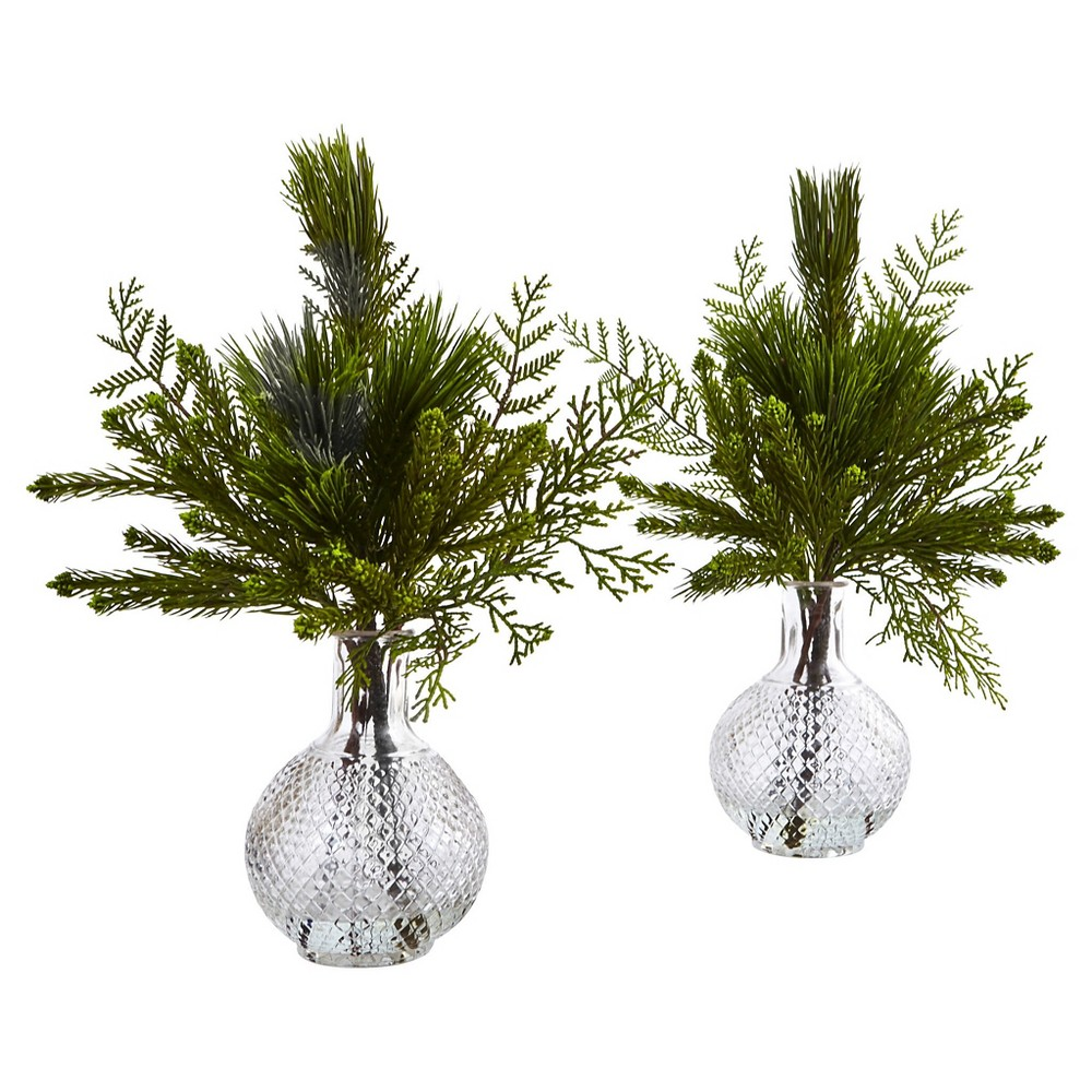 Mixed Pine Arranged in Glass Vases - Set of 2 - Nearly Natural, Green
