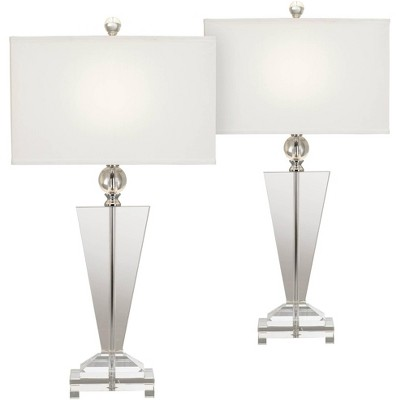 Vienna Full Spectrum Modern Table Lamps Set of 2 Art Deco Crystal Trophy Off White Rectangular Shade for Living Room Bedroom