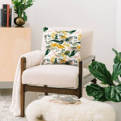 Marta Barragan Camarasa Art Nature Brushstrokes Square Throw Pillow Green - Deny Designs : Target